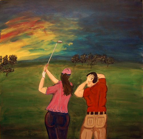 Golfing Spoouses by Rob Wilson acrylic on canvas