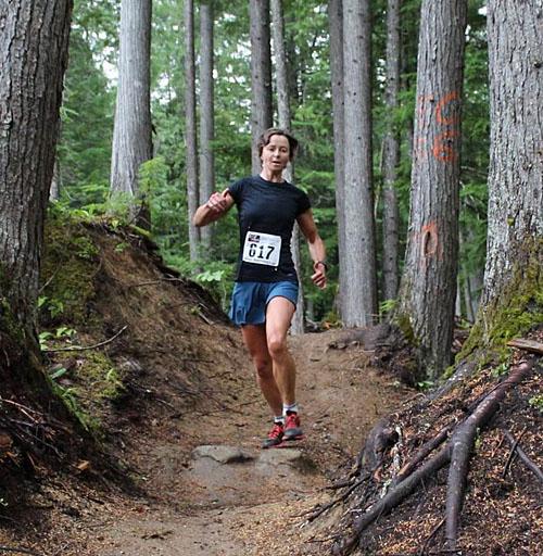 Ann-Marie Gill flies along the trail. Phil Hiom photo