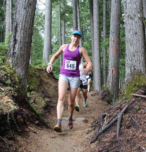 Melanie Bernier enjoys her run. Phil Hiom photo