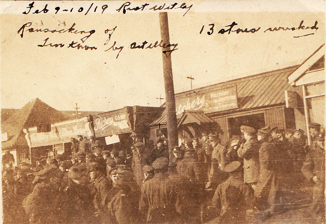 This photo shows artillerymen during the February 1919 riot at their camp in Witely.
