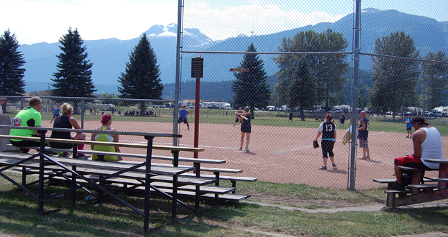 And this was one of the final games of the 17th Annual Glacier Challenge — a match between the Maser Baters of Genelle and the Bangers of Kelowna. I don't know who won. David F. Rooney photo