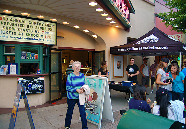 Marilyn Parkin smiles as she is caught on camera waiting for husband Andy who has just ambled off to get an ice cream cone. David F. Rooney photo