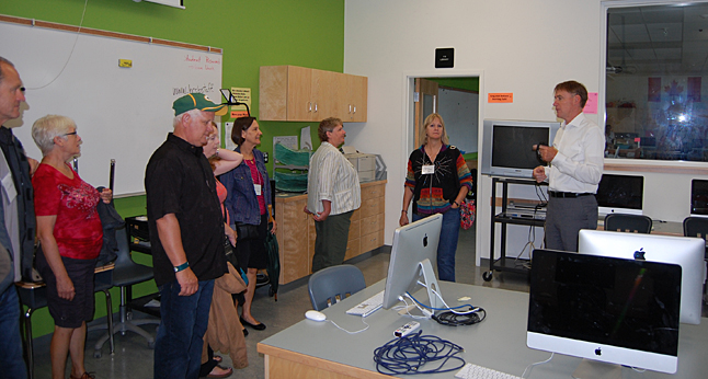 There may be questions about whether school will start on Wednesday, September 3, but that didn't stop former residents from taking up School Superintendent Mike Hooker's offer to guide them on a tour of the city's two new schools on Saturday morning. People were, without exception, pretty impressed with the new Begbie View Elementary and RSS. David F. Rooney photo
