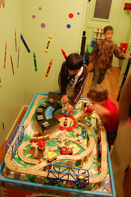 Kids had fun doing playing with toy trains at the museum.  David F. Rooney photo