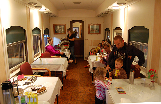 Parents who need a caffein fix managed to get it — or a juice fix, for that matter — in the museum's club car.  David F. Rooney photo