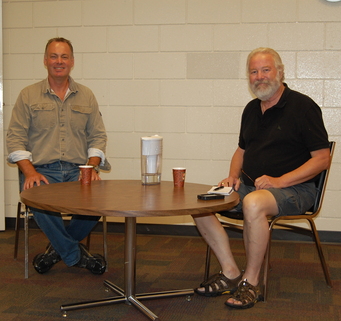 MLA Norm Macdonald takes a break from Homecoming to participate in a video interview with Revelstoke Current Publisher David Rooney at the public library on Saturday afternoon. You can watch the video of the interview on The Current late Sunday afternoon. David F. Rooney photo