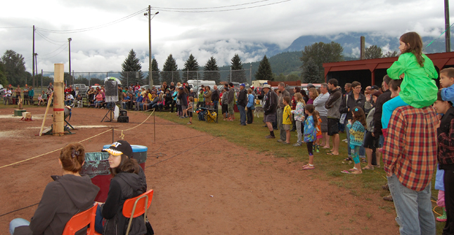 This image gives you a sense of the audience that showed up for Timber Days. This photo only shows about half the crowd that was there at 2:30. David F. Rooney photo
