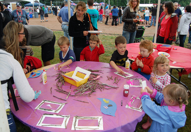 Kids had an interesting time trying to make picture frames and other items out small sticks. Although one or two seemed a little puzzled they all eventually got it. David F. Rooney photo