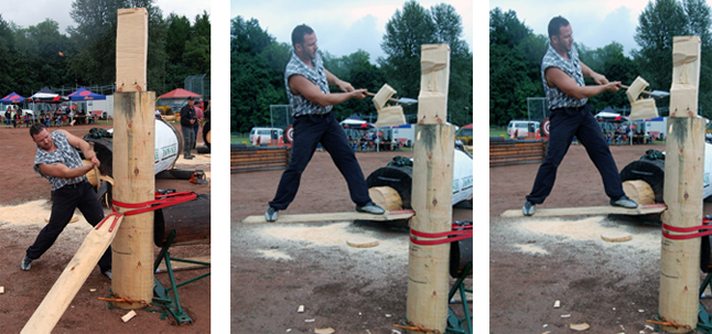 John Blais of Kelowna takes a whack at the wood during Timber Days. David F. Rooney photo