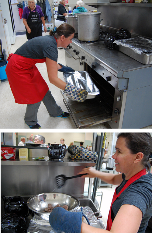 Kim McTaggart was the meatball queen in the kitchen at the Community centre during the Community Spaghetti Dinner on Saturday. David F. Rooney photo