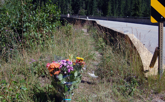 These flowers at the Laforme Creek Bridge on Highway 23 North commemorate the young man who leaped off the bridge and never surfaced on Wednesday. David F. Rooney photo