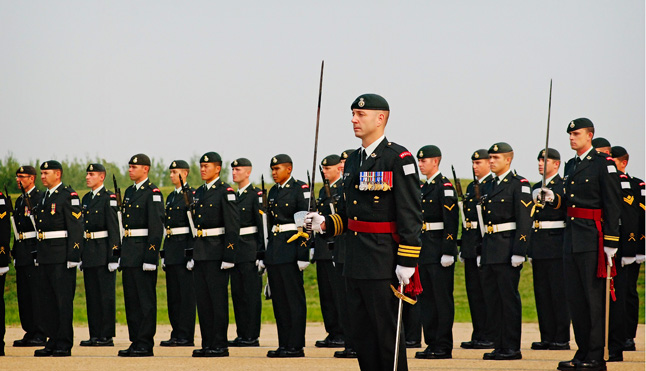 CFB EDMONTON — Stalker and his men at attention on the Steele Barracks Parade Ground at CFB Edmonton during the Change of Command Ceremony on August 14. Christina Van Goor photo
