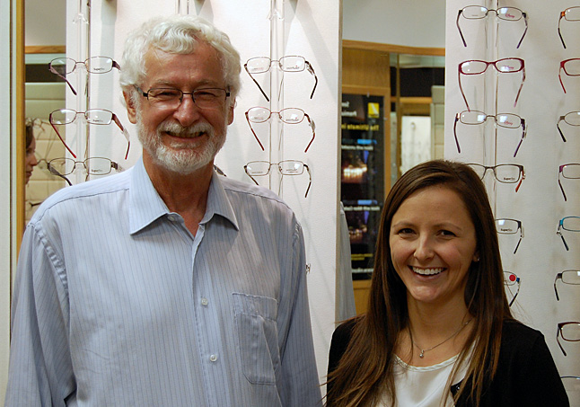 Retiring optometrist Dr. Terry O'Hagan poses with Dr. Christina Ayles who has just purchased his practice on Connaught Avenue. Ayles, who is originally from Hinton, Alberta, says she fell in love with Revelstoke last year when she and her husband passed through. They decided to make a real change and — voila! — here they are. David F. Rooney photo