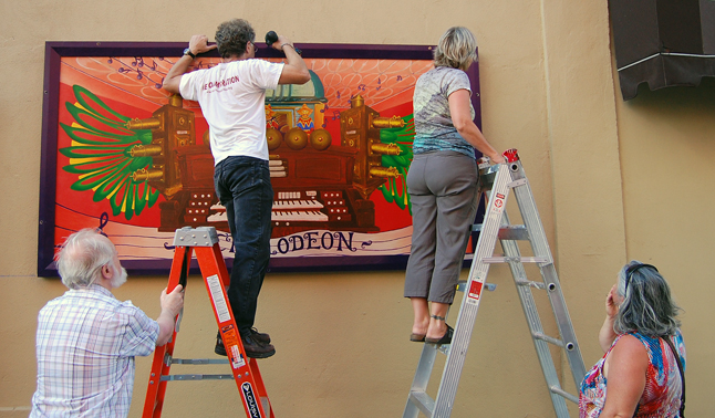 Here's the gang erecting the second mural on Saturday afternoon. David F. Rooney photo