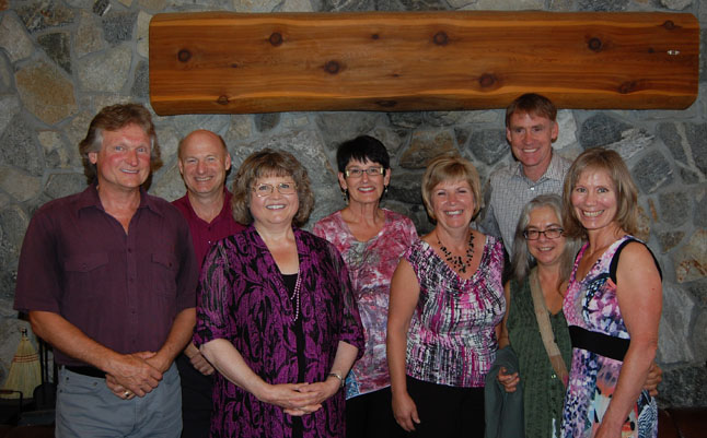 Earl Woodhurst (left), Vivian Binnington, Brenda Resvick, Lorna Phelps and Lori Milmine (right) were all smiles as they posed with School Board Chairman Alan Chell (second from the left), SD 19 Superintendent Mike Hooker (back right) and CUPE president Clara Maltby (second from the right) at the Retirement Tea held at the Hillcrest Hotel on Friday, August 29. Not shown are fellow retirees Luigi Lamacchia and Greg Louttit. David F. Rooney photo