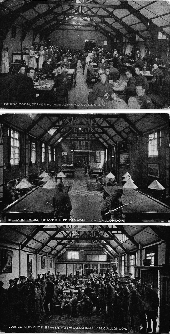 Canadian soldiers on leave from their camps in rural England often went to London where the Canadian YMCA maintained a facility for Canadian soldiers called the Beaver Hut.  There was a dining room (top), a billiard room and a lounge and shop (bottom). Among the things it sold Canadian servicemen were postcards like these that they could send home to their anxious sweethearts and families. Postage to Canada cost one penny. My grandfather end the top one to his fiancee, Reta Cook, the middle one to his brother Lawrence and the bottom one his father, Francis Joseph.