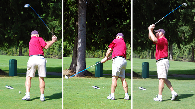 Bill Gallicano swings at the ball during Sunday's Labour Day Tournament at the Revelstoke gold course. This game proved to be quite a milestone for the Revelstokian as it was his 50th consecutive year of participation in the tournament. David F. Rooney photo