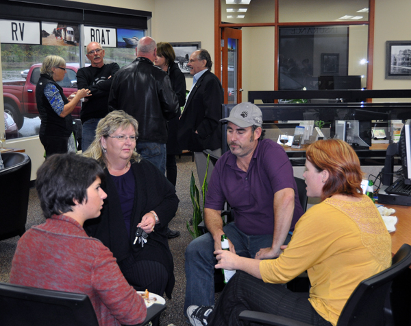 Chamber of Commerce members gathered for drinks and appetizers at the Revelstoke Credit Union's new insurance service offices at the corner of Victoria Road and Campbell Avenue on Thursday, September 25. David F. Rooney photo