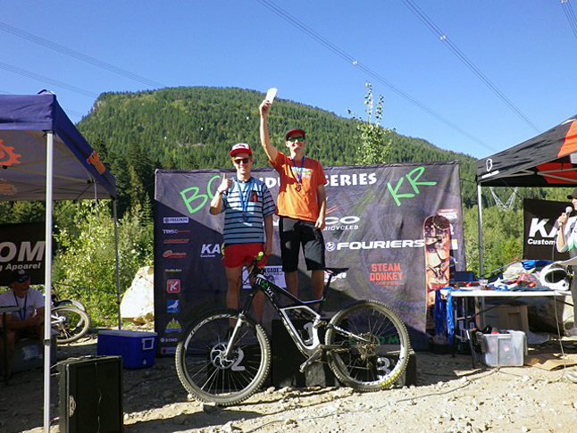 Stuart Dickson waves to the crowd after winning first place in the BC Enduro Race held in Revelstoke on Saturday and Sunday, September 13-14. William Cadham won second and Evan Guthrie (not shown) took third. The two-day race saw 120 competitors tackle courses on Frisby Ridge and Mount Macpherson. Linda Dickson photo