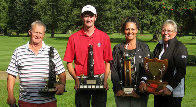 The Revelstoke Golf Club hosted their 84th Labour Day Tournament this past weekend.  The winners in the Ladies Division for overall low gross was Heather Sirianni from the Hope Golf Club, the overall low net was Linda Bridgeman from the Spall GC.  The winners in the Men's Division was Cody Bell of Canoe Creek shooting a sizzling 67, 69, and 70, the overall low net was our club's Vice-President, Dennis Holdener.  Runner up to the overall low gross was Taylor Pearcey. Something new this year, was the inclusion of a junior division. The winner of the overall low gross was Sebastion Newsome,  Spencer Spannier was the overall low net, both members of the Revelstoke Golf Club. Photo courtesy of Heather Duchman/Revelstoke Golf Club