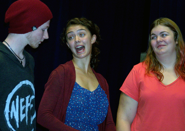 Grayson Norsworthy, Hailey Christie-Hoyle and Hannah Busch get into character at a rehearsal of Heritage. Natelle Fitzgerald photo