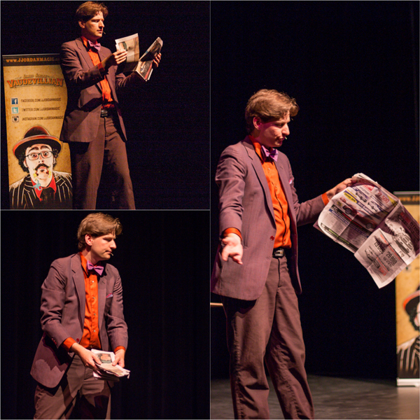 Here, Ryan performs the classic tearing a newspaper in pieces, and then restoring it to its original state. That trick always boggles my mind.  Jason Portras photo