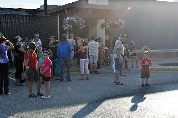 A fire alarm sent kids and parents out into the Community Centre parking lot for a short while. Photo courtesy of the Revelstoke Branch of the Okanagan Regional Library