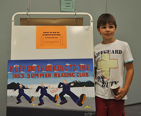 Pierson Bett won the draw for this painting by local artist David F. Rooney. He has contributed paintings to the Summer Reading Club program since for 12 years. Photo courtesy of the Revelstoke Branch of the Okanagan Regional Library