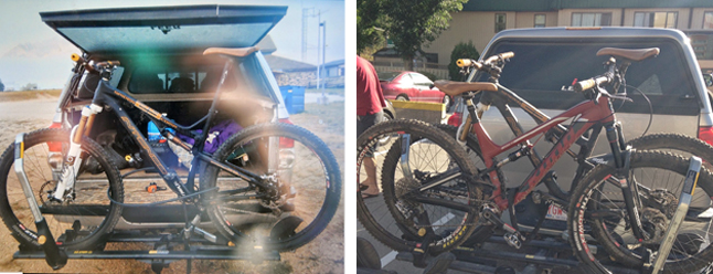 In the early morning hours on Sunday, September 14,  thieves made off with two mountain bikes that had been  secured to the back of a vehicle parked in the Best Western parking lot at 1925 Laforme Boulevard. The mountain bikes are described as: (left) a Gold and Black 11 Speed Intense 951 Spider Composite 29 with Serial Number, YTINF131586 valued at $6,825; and (right) a Red and Black 11 Speed Kona Process with Serial Number, HAGH02476 valued at $6,900. If you have any information about this theft or any other criminal act, please do not hesitate to contact the Revelstoke RCMP at 250.837-5255 or Crime Stoppers at 1-800-222-8477. Photos courtesy of Revelstoke Crime Stoppers