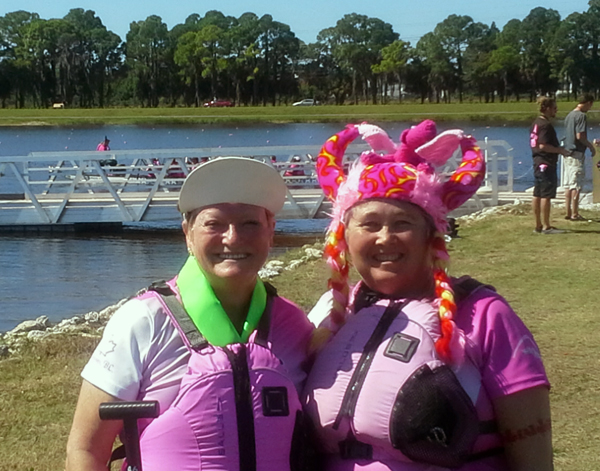 SARASOTA, Florida — Dragon Boaters Ginger Shoji and Joan Eley pose after competing as part of the Spirit Warriors team from Kamloops in the  2014 IBCPC Dragon Boat Festival in Sarasota, Florida. Karen Lofgren photo