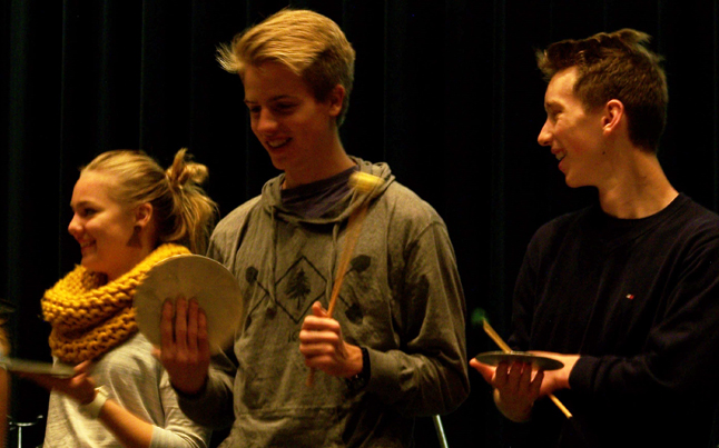 Students share a laugh as they try to keep the beat. Natelle Fitzgerald photo