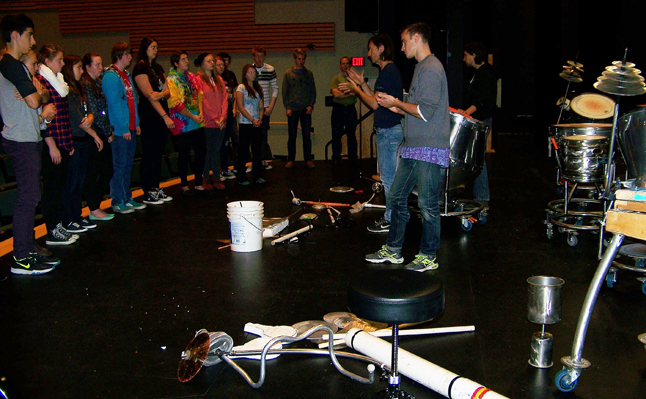 Grade 11s and 12s learn about Scrap Arts wide array of instruments. Natelle Fitzgerald photo