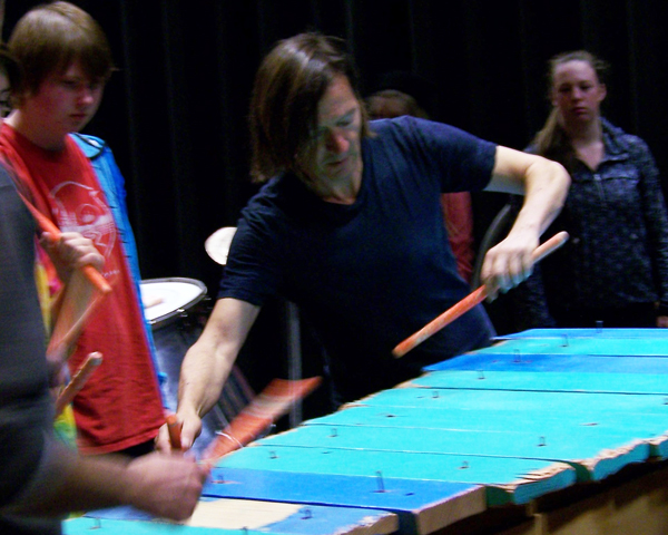 Gregory Kozak plays a number on the 'plankophone.' Natelle Fitzgerald photo