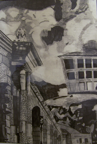 House on the Hill By Theresa Browning Pencil