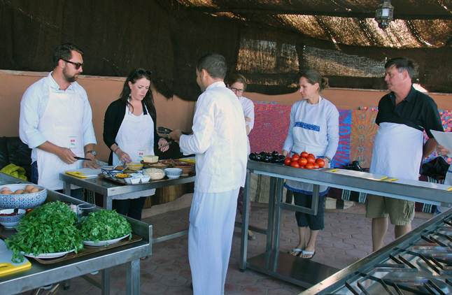 Cooking class at the Riad Omar Kayam. Rustic inn, but stainless functional equipment. Leslie Savage photo