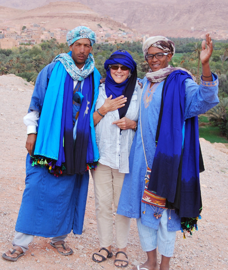 Here's me with two vendors of scarves and robes, in the mountains. My companions were ticked that I paid too much. I thought I was paying, really, for the photos. Plus: the boys knew from my French that I'm from Montreal. They probably travel more than I do. Cynthia Smith photo