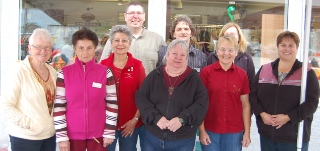 All these smiling volunteers help make the Thrift Store's operations a win-win situation for both the community in general and Queen Victoria Hospital, which benefits from the hundreds of thousands of dollars the Hospital Auxiliary spends to purchase medical equipment for QVH. David F. Rooney photo