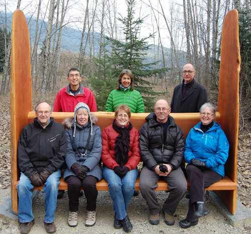 That lovely bench created by Rod Aspeslet was officially unveiled on Wednesday. Here, artists Mas Matsushita and Nancy Geismar and board directors Barb Kemerer, Louisa Fleming and Don Pegues pose with City Councillors Steve Bender and Linda Nixon as wells Chief Administrative Officer Tim Palmer. Missing from the photo: the bench's creator, Rod Aspeslet; IGS directors Toni Johnston and Chris Johnston. I was behind the camera. David F. Rooney photo