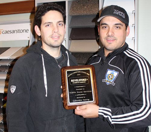 Anthony and Danny Donato pose with the award they won at the Chamber of Commerce's Business Excellence Dinner on Saturday, November 1. The boys weren't able to be there to collect the award in person but were quite pleased to see their firm, TOPPSA Stone Services, was recognized for its quality products and service. Photo courtesy of Linda Chell