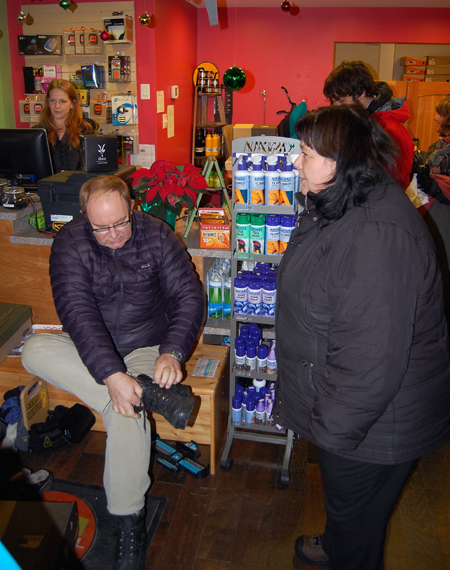 Brand-new City Councillor Gary Sulz and his wife Chrissie were among the hundreds of shoppers who braved the cold on Friday night. And what was Gary looking for? Warm winter boots, of course. David F. Rooney photo