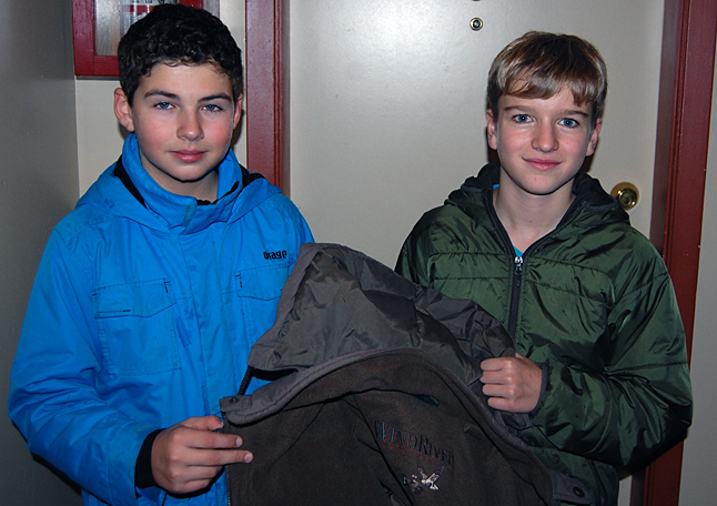 Grade 7 students Jayke Anchikoski (left) and Kobe Brunetti have started an excellent campaign to gather winter coats for adults and children who need them. David F. Rooney photo