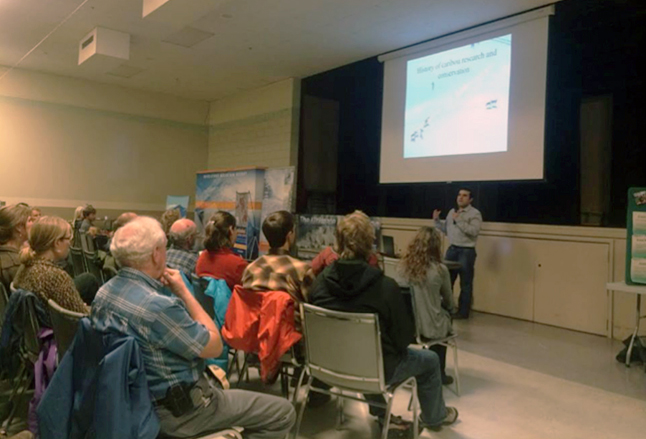 Rob Serrouya talks about the history of caribou conservation in the area. He discussed the research that was done on caribou populations and what was discovered about their cause of decline. Photo courtesy of Sylvia Wood