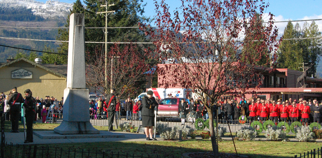 Members of the Rocky Mountain Ranger Cadet Corps formed the honour guard at the cenotaph honouring Revelstoke's war dead. David F. Rooney photo