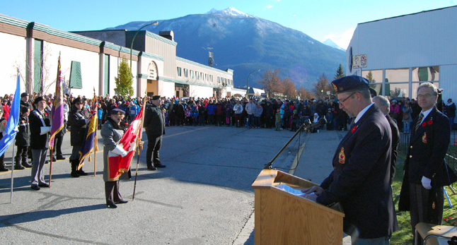 Legion Branch 46 President Todd Driediger speaks to the crowd and reminds them that the performance of Canadian soldiers in the two World Wars gave our country a unique identity. David F. Rooney photo