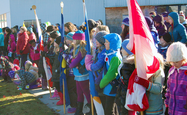 Brownies and Guides watch the ceremony unfold before them. David F. Rooney photo