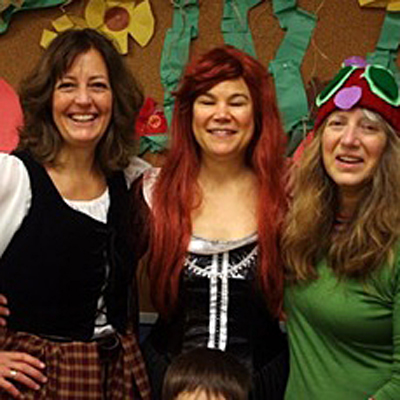 Here are the library gals all dressed up: Susan Knight (left) is Claire, Kendra Runnalls (center) is Geillis (both characters from the Outlander TV series based on author Diana Gabaldon's Outlander series) and Lucie Bergeron is Eric Carle's The Very Hungry Caterpillar. Kendra Von Bremen photo