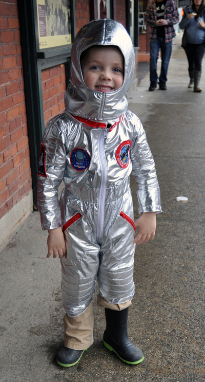 I found young Liam Bolton taking a space walk down First Street and couldn't resist. David F. Rooney photo