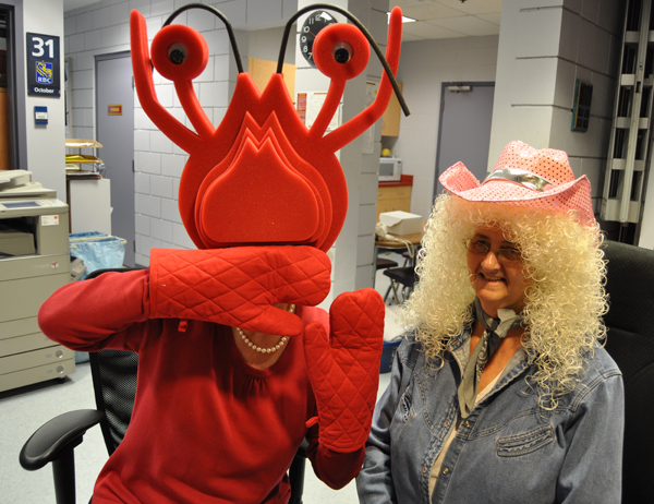 The Community Centre main desk was, uh, manned by a crustacean and a cowgirl. David F. Rooney photo