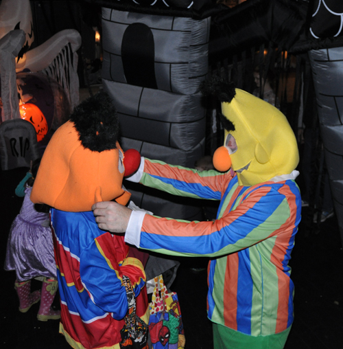 Ernie and Bert get ready to meet all the little monsters who attended Team Gloria's Halloween afternoon party for local kids at the Traverse. David F. Rooney photo