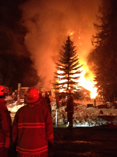 This fire on Loschinski Road elicited a response by 23 firefighters. Photo courtesy of Revelstoke Fire Rescue